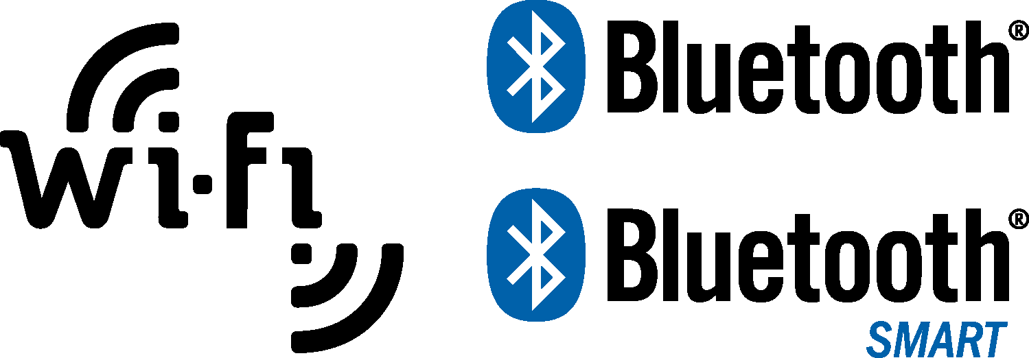 Wi-Fi, Bluetooth and Bluetooth Smart Logos